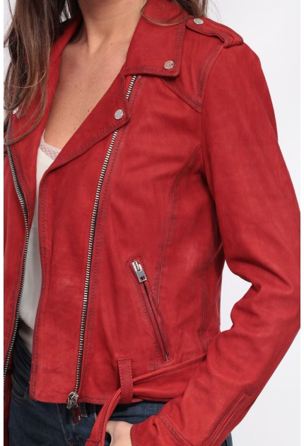 Blouson cuir Nubuck femme Oakwood Please Rouge 538