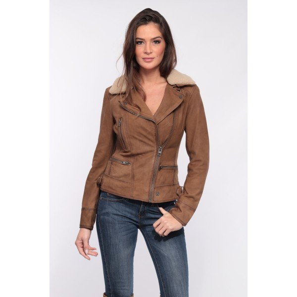 Blouson cuir Nubuck femme Oakwood Projection café 506