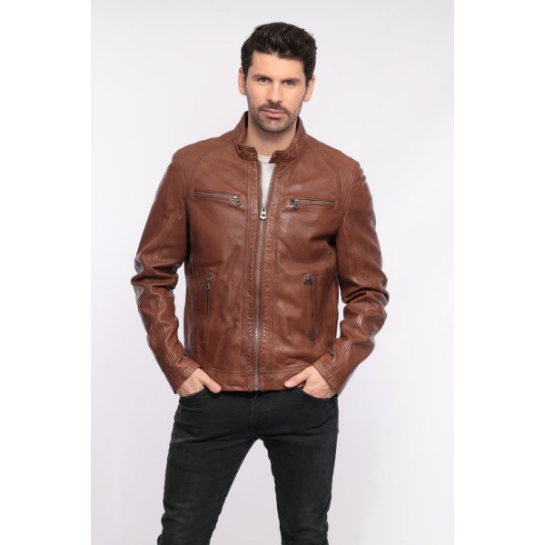 BLOUSON CUIR EMERSON SANDRO DAYTONA HOMME MARRON BROWN