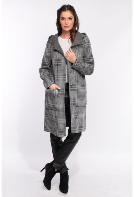 Manteau en laine reversible Oakwood Yale Bi square carreaux gris 637