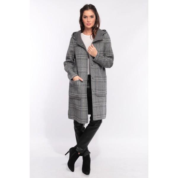Manteau en laine reversible Oakwood Yale Bi square carreaux gris 637