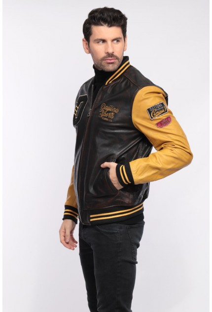 BLOUSON CUIR BOMBERY BADGES DAYTONA HOMME BLACK YELLOW