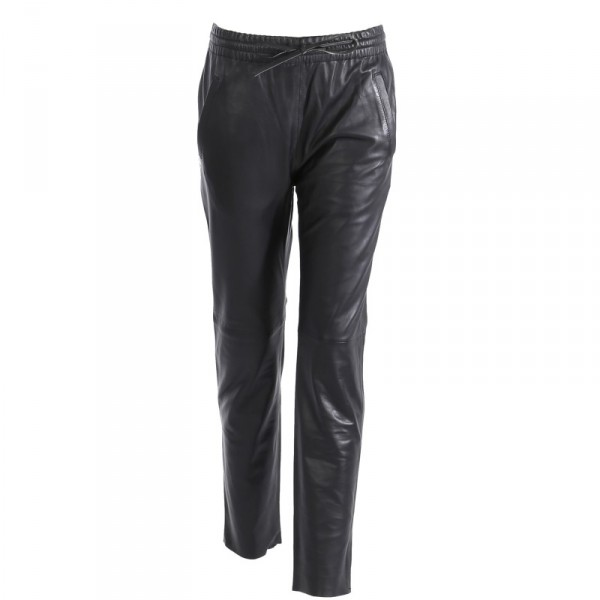 Pantalon jogpant en cuir véritable Oakwood Gift noir 501