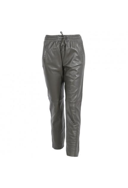 Pantalon jogpant en cuir véritable Oakwood Gift kaki foncé 626