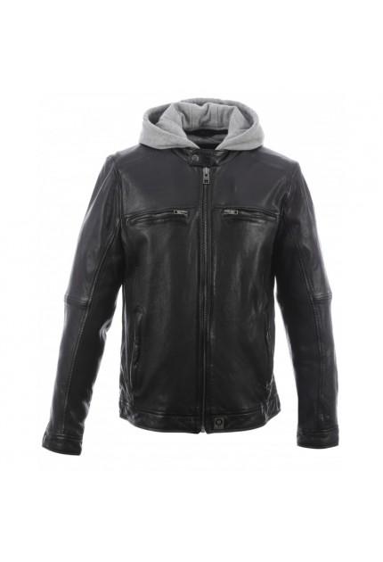 Blouson en cuir véritable à capuche amovible Brother noir 501